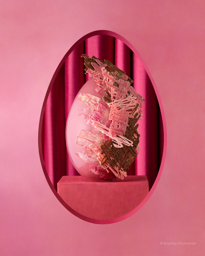 Easter pink egg on the podium