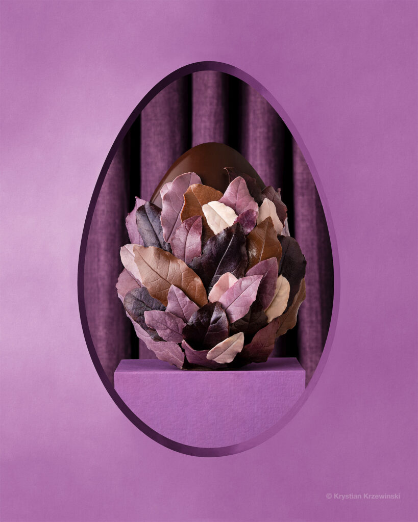 Easter purple egg on the podium